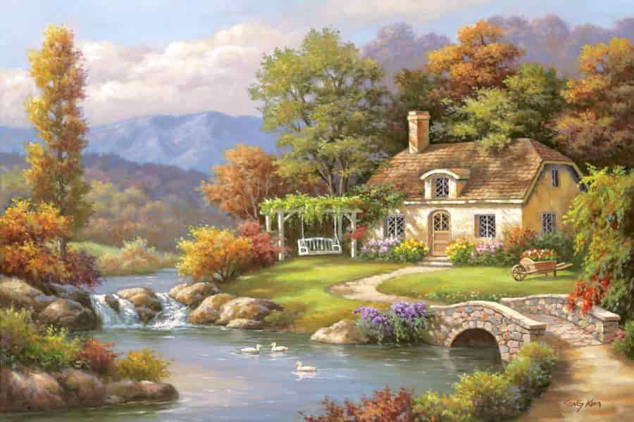 Vẽ tranh tường tại tphcm phong cảnh làng quê